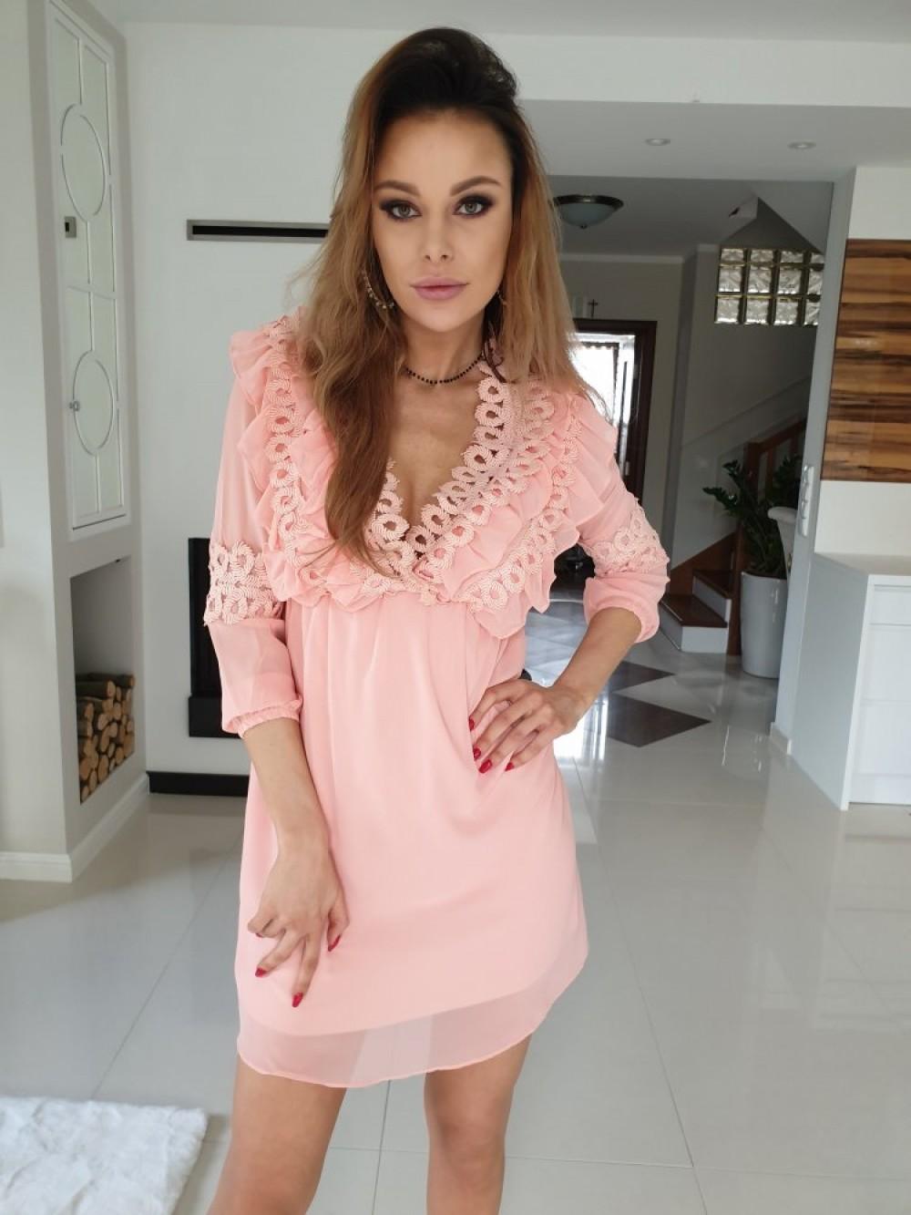 2fcf1c4e423554 Sukienka JANE- brzoskwinia - Butik Sissi-Boutique