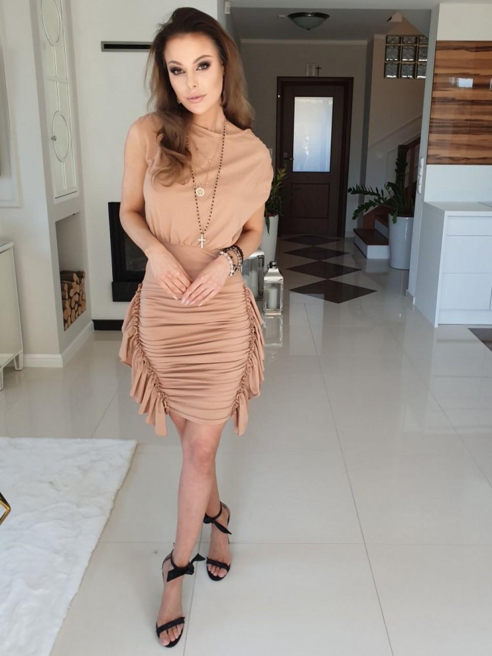 89492216ca48e9 Sukienka GABRIELLE- brąz - Butik Sissi-Boutique