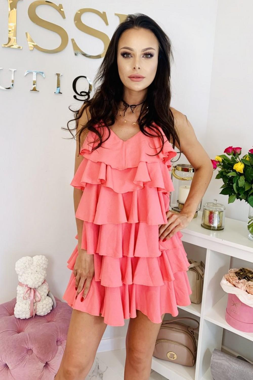 dea703cc513043 Sukienka RITA-koral - Butik Sissi-Boutique