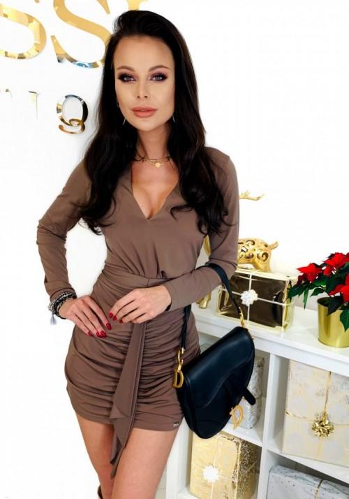 Brązowa Ołówkowa Sukienka CHARLOTTE