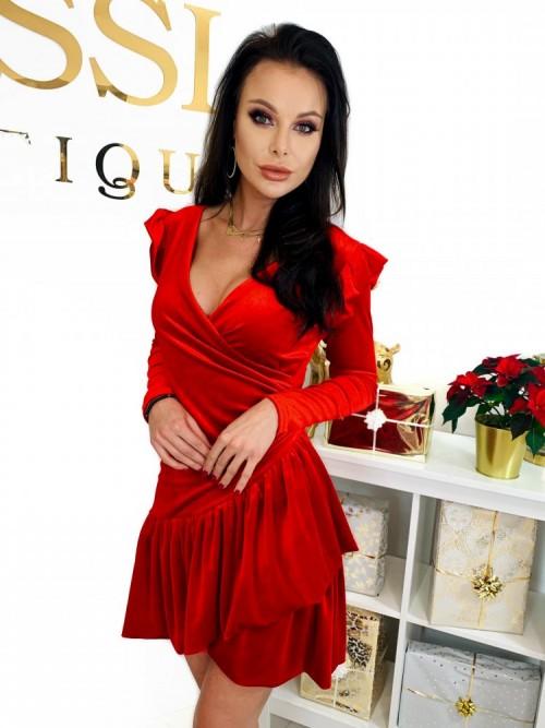 Czerwona Pluszowa Sukienka CHERRY
