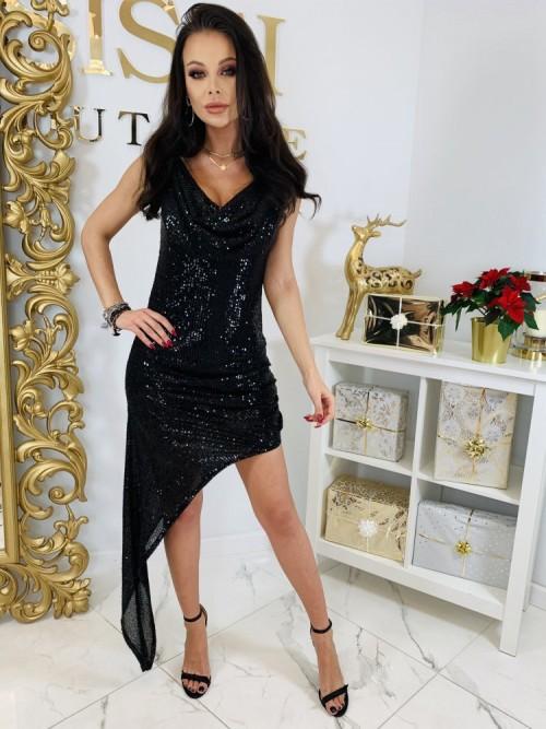 Asymetryczna Czarna Cekinowa Sukienka GLOW BLACK