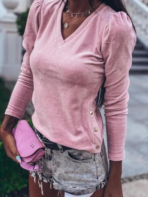 Różowa Welurowa Bluzka LINDA ROSE