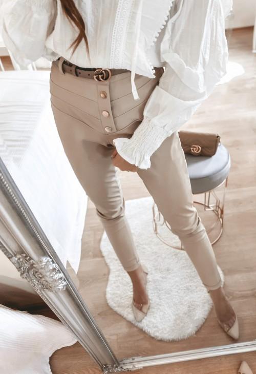 Spodnie MIRAN ekoskóra beżowe na guziki