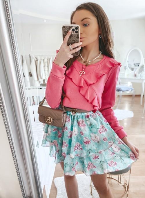 Sweter MILO z falbankami różowy