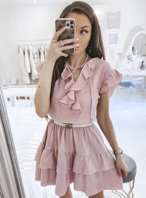 Sukienka SCARLETT falbanki różowa