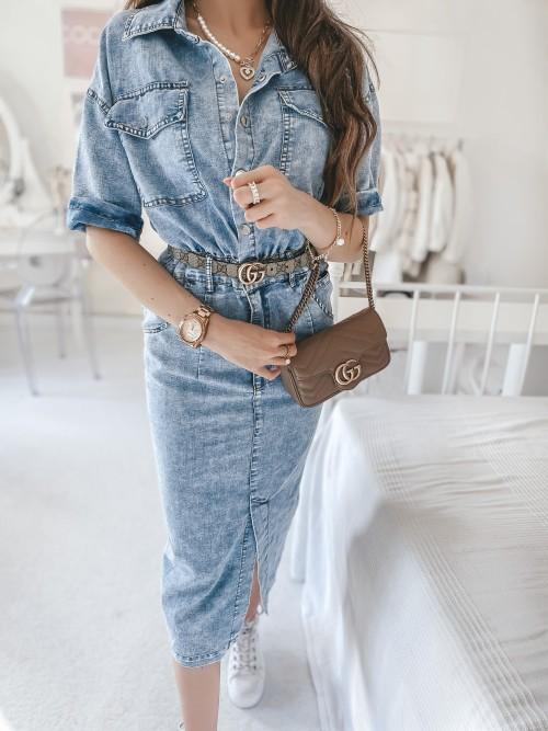 Sukienka CASSANDRA jeansowa midi