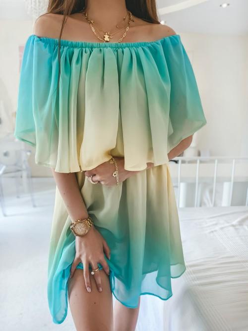 Sukienka FRANKY ombre ZIELONO-ŻÓŁTA
