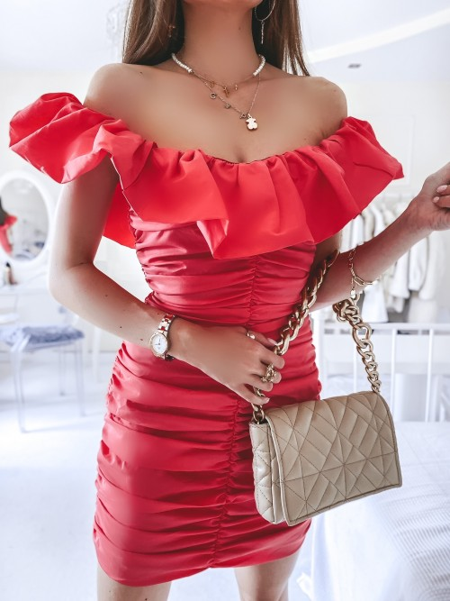 Sukienka ANABELL drapowana w stylu hiszpanki MALINOWA