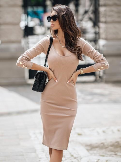 Sukienka CLOVER prązkowana z wycięciem z boku BRĄZOWA