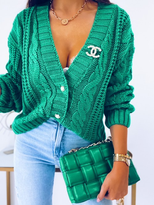 Sweter DARLA zapinany na guziki ZIELONY