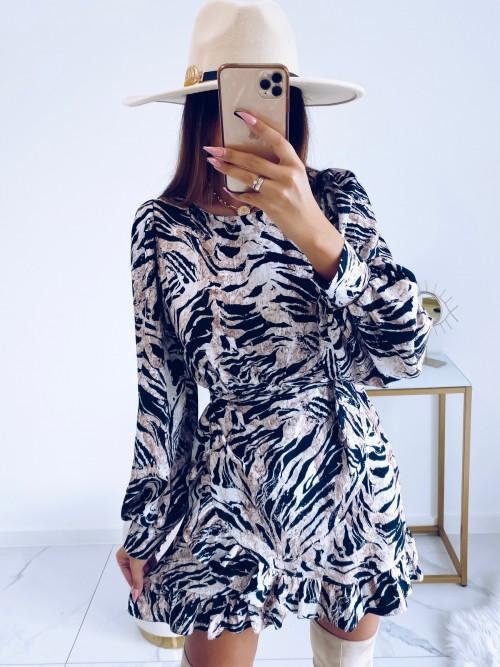 Sukienka CELINE w print zebry z wiązaniem