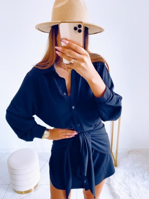 Sukienka SONYA koszulowa z wiązaniem CZARNA