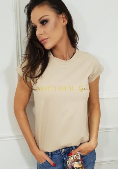 Tshirt GIRL- beż