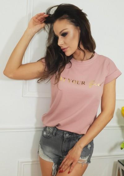 Tshirt GIRL- pudrowy