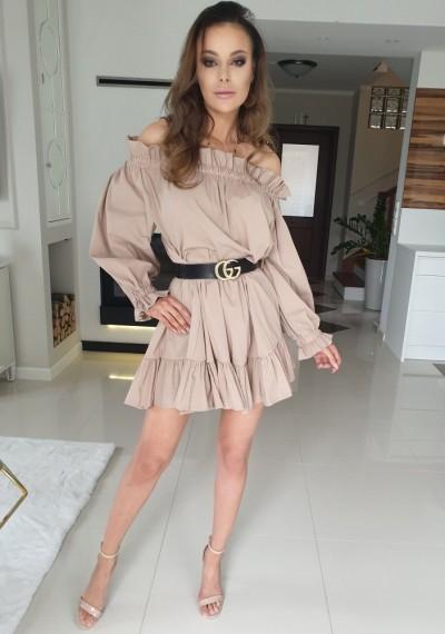 Sukienka BELL- brąz
