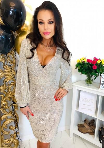 Złota cekinowa Sukienka PERRY GOLD