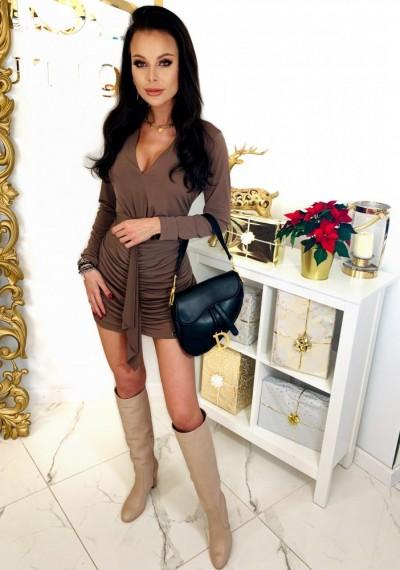 Brązowa Ołówkowa Sukienka CHARLOTTE 1
