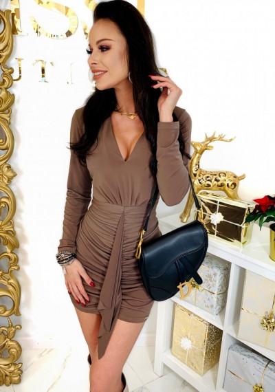 Brązowa Ołówkowa Sukienka CHARLOTTE 2