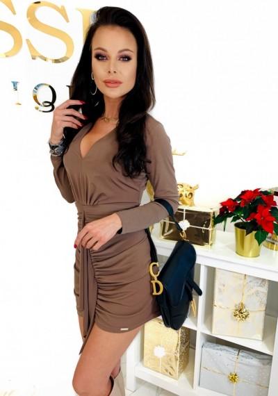 Brązowa Ołówkowa Sukienka CHARLOTTE 3