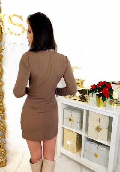 Brązowa Ołówkowa Sukienka CHARLOTTE 4