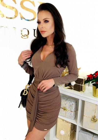Brązowa Ołówkowa Sukienka CHARLOTTE 5