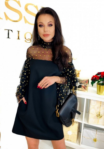 Czarna Elegancka Sukienka LENA STARS 1