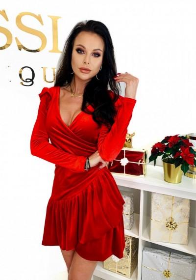 Czerwona Pluszowa Sukienka CHERRY 1