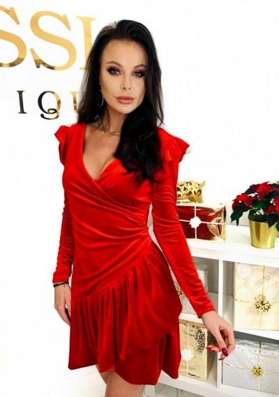 Czerwona Pluszowa Sukienka CHERRY 2