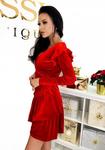 Czerwona Pluszowa Sukienka CHERRY 3
