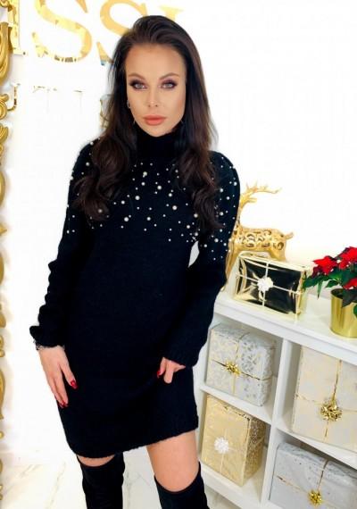 Czarna Swetrowa Sukienka PEARL