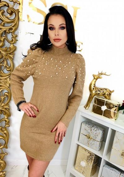 Brązowa Swetrowa Sukienka PEARL- brąz