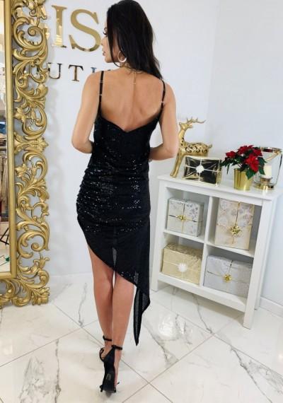 Asymetryczna Czarna Cekinowa Sukienka GLOW BLACK 3
