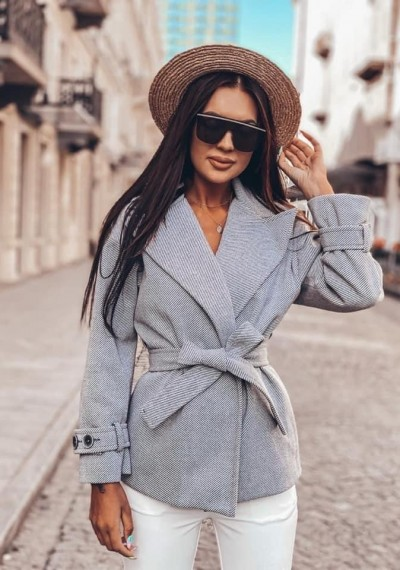 Szary Płaszcz wiązany DENLEY GREY Premium