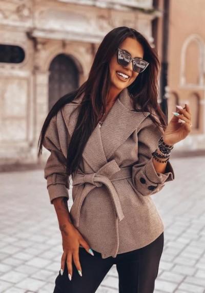 Brązowy Wiązany Płaszcz DENLEY BROWN Premium