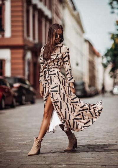 Długa Brązowa Sukienka MEGAN