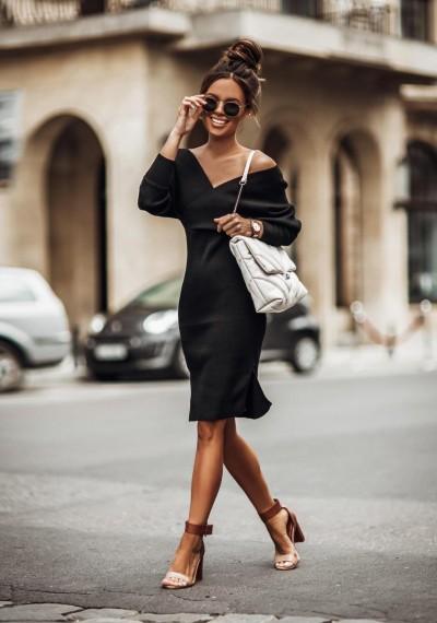 Czarna Ołówkowa Sukienka BLACKY