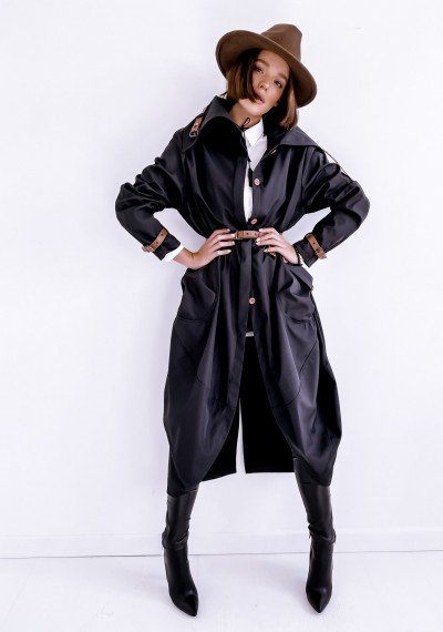 Czarny długi Płaszcz LOGAN BLACK