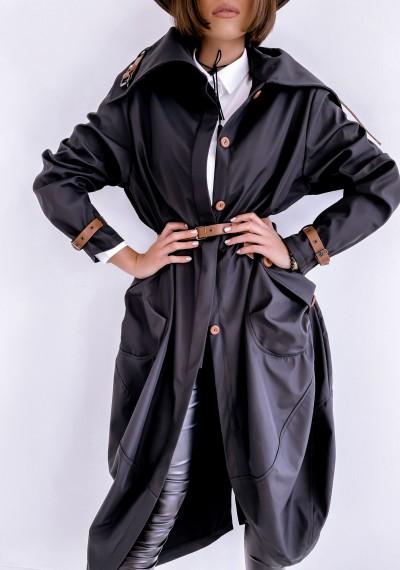 Czarny długi Płaszcz LOGAN BLACK 1