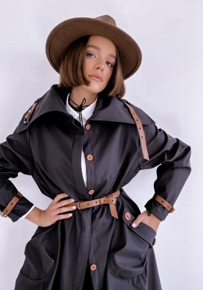Czarny długi Płaszcz LOGAN BLACK 2