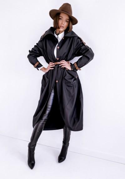 Czarny długi Płaszcz LOGAN BLACK 3