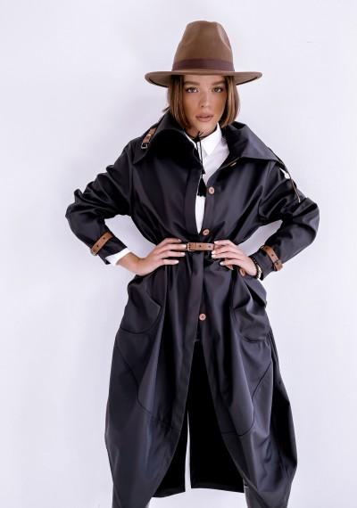 Czarny długi Płaszcz LOGAN BLACK 4