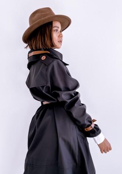 Czarny długi Płaszcz LOGAN BLACK 5