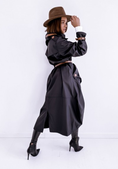 Czarny długi Płaszcz LOGAN BLACK 6