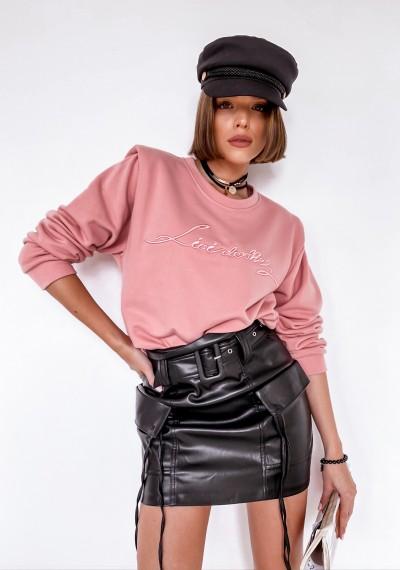 Różowa Bluza z napisem LOVI ROSE
