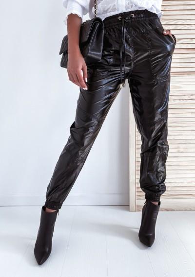 Czarne Ortalionowe Spodnie ORIANO
