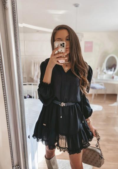 Czarna Szyfonowa Sukienka KENDRA BLACK