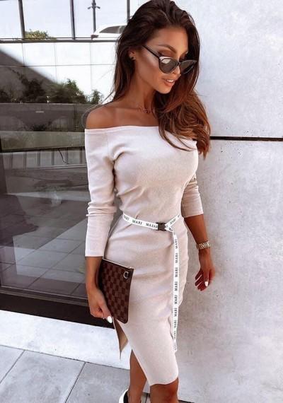 Beżowa Prążkowana Sukienka ANABEL BROWN 1