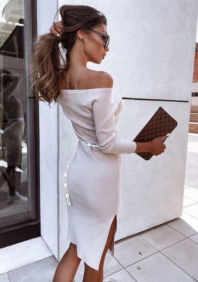 Beżowa Prążkowana Sukienka ANABEL BROWN 2