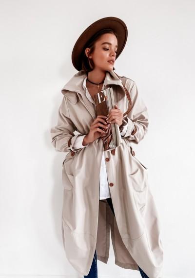 Beżowy Luźny Płaszcz LOGAN BEIGE 1